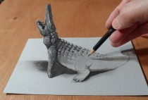 Drawing 3D Crocodile – Trick Art
